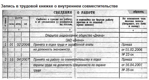 Оформление трудовой книжки при приеме на 2 должности Сирэйнис предшествовало